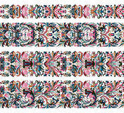 Set of vintage border brushes templates. Baroque floral elements for frames design and page decorations. Set of seamless vintage border brushes templates Stock Image
