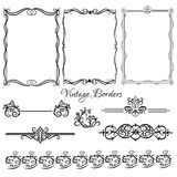 Set of vintage borders. Decorative background with ornamental and vintage borders vector illustration