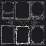 Set of vintage borders. Decorative background with  ornamental and vintage borders Royalty Free Stock Photo