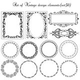 Set of Vintage borders and design elements. Royalty Free Stock Image