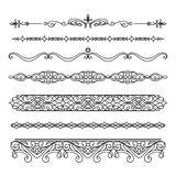 Set of vintage borders and flourishes on white Royalty Free Stock Photography