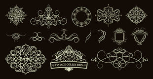 Set vintage borders, frame and rosette.  Decoration for logo, we Royalty Free Stock Photography