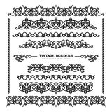 Set of vintage borders on white. Set of vintage borders and flourishes, scroll embellishment in retro style stock illustration