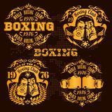 Set of vintage boxing emblems, labels, badges Stock Image