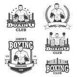 Set of vintage boxing emblems Stock Images