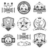 Set of vintage boxing emblems Stock Image