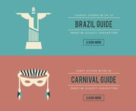 Set of vintage Brazil and carnival banners Stock Photography