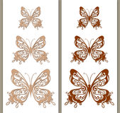 Set of vintage brown butterflies Royalty Free Stock Image