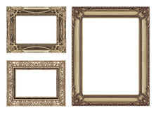 Set 3 of Vintage brown frame with blank space, clipping path. Stock Photos