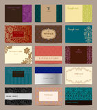 Set of vintage business cards. Stock Photos