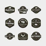 Set of vintage butchery logos. retro styled meat shop emblems. vector illustration stock illustration