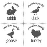 Set of vintage butchery meat stamps, logo and Stock Images