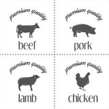 Set of vintage butchery meat stamps, logo and Stock Image