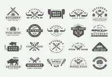 Set of vintage butchery meat, steak or bbq logos, emblems, badges, labels. Graphic Art. Illustration. Vector vector illustration