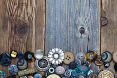 Set of vintage buttons with copy space Stock Images