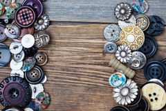 Set of vintage buttons with copy space Stock Photo