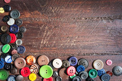 Set of vintage buttons on old wood Stock Photography