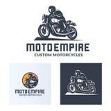 Set of vintage cafe racer motorcycle logo. Vintage cafe racer motorcycle logo isolated on white background. Old school sport motorcycle desgn elements royalty free illustration