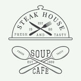 Set of vintage cafe and steak house logo, badge and emblem withSet of vintage cafe and steak house logo, badge and emblem with spo Stock Image