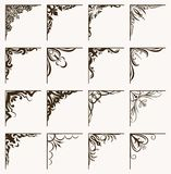 Set of 16 vintage calligraphic corners for your design. Stock Image
