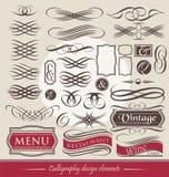 Set of vintage calligraphic design elements Royalty Free Stock Photos