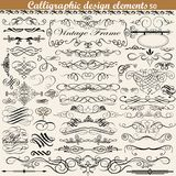 Set of vintage calligraphic design elements. Illustration set of vintage calligraphic design elements Royalty Free Stock Photography