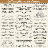 Set of vintage calligraphic design elements. Illustration set of vintage calligraphic design elements Royalty Free Stock Photo