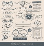 Set of vintage calligraphic design elements and vector page decorations. Stock Photos