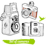 A set of vintage cameras. Hand-drawn Royalty Free Stock Photo