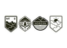 Set of vintage camping labels and badges. Editable stock illustration