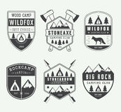 Set of vintage camping labels, badges and logos Royalty Free Stock Photos
