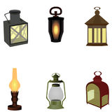 Set of vintage camping old lamp for hiking. vector illustration Stock Photography