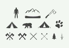 Set of vintage camping outdoor and adventure elements. Can be used logos, badges, labels, emblems, marks and design elements. Graphic Art. Vector Illustration stock illustration