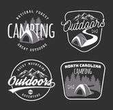 Set of vintage camping and outdoor adventure emblems, logos and. Badges. Camp tent in forest or mountains. Camping equipment. Vector Stock Images