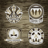 Set of vintage camping and outdoor adventure logo badges and labels. Royalty Free Stock Images