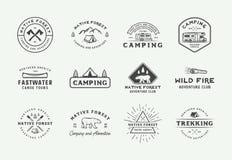 Set of vintage camping outdoor and adventure logos, badges, labels, emblems, marks and design elements. Graphic Art. Vector Illustration stock illustration