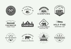 Set of vintage camping outdoor and adventure logos, badges, labels, emblems, marks and design elements. Graphic Art. Vector Illustration royalty free illustration