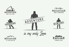 Set of vintage camping outdoor and adventure logos, badges, labels, emblems, marks and design elements. Graphic Art. Vector Illustration vector illustration
