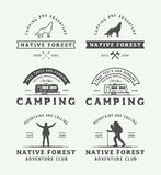 Set of vintage camping outdoor and adventure logos, badges. Labels, emblems, marks and design elements. Graphic Art. Vector Illustration Stock Photography
