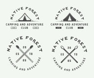 Set of vintage camping outdoor and adventure logos, badges. Labels, emblems, marks and design elements. Graphic Art. Vector Illustration Stock Image