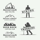 Set of vintage camping outdoor and adventure logos, badges Royalty Free Stock Photos