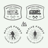 Set of vintage camping outdoor and adventure logos, badges,. Labels, emblems, marks and design elements. Graphic Art. Vector Illustration Royalty Free Stock Photography
