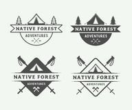 Set of vintage camping outdoor and adventure logos, badges. Labels, emblems, marks and design elements. Graphic Art. Vector Illustration Stock Photos