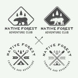 Set of vintage camping outdoor and adventure logos, badges Royalty Free Stock Photography