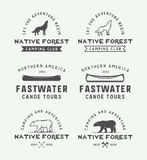 Set of vintage camping outdoor and adventure logos, badges, Stock Photography