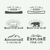 Set of vintage camping outdoor and adventure logos, badges. Labels, emblems, marks and design elements. Graphic Art. Vector Illustration Royalty Free Stock Photos