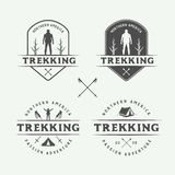 Set of vintage camping outdoor and adventure logos, badges. Labels, emblems, marks and design elements. Graphic Art. Vector Illustration Stock Images