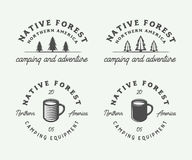 Set of vintage camping outdoor and adventure logos, badges. Labels, emblems, marks and design elements. Graphic Art. Vector Illustration Royalty Free Stock Images