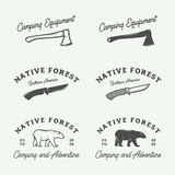 Set of vintage camping outdoor and adventure logos, badges. Labels, emblems, marks and design elements. Graphic Art. Vector Illustration stock illustration