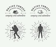 Set of vintage camping outdoor and adventure logos, badges. Labels, emblems, marks and design elements. Graphic Art. Vector Illustration Royalty Free Stock Image